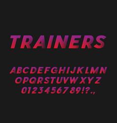 Sport style bold italic font sans serif typeface vector
