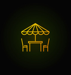 street cafe yellow icon table with vector image vector image