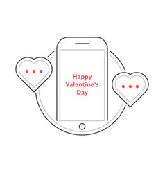 thin line phone like love messaging vector image vector image