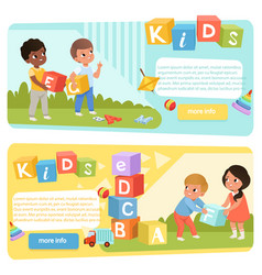 Two banners with preschool kids with colored abc vector