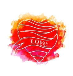 Watercolor heart with ribbon vector image