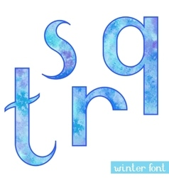 Winter watercolor font QRST vector image