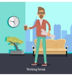Working break man with cup of coffee holds papers vector