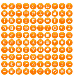 100 surfing icons set orange vector
