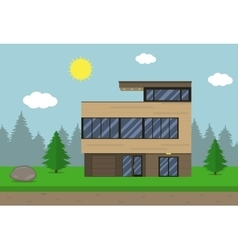 Cottage house building flat design style modern vector