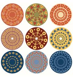 Set of nine geometric colorful mandala vector image