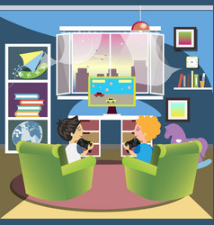 children play the console in room vector image