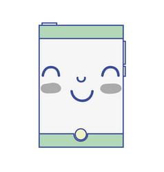 Grayscale kawaii cute happy smartphone technology vector
