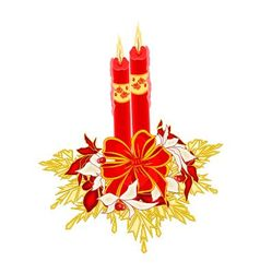 Christmas two candles with ribbon and poinsettia v vector