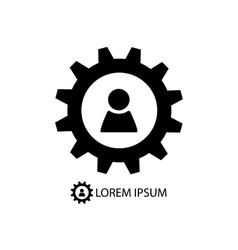 Gear wheel with person sign vector image