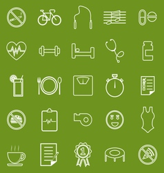 Wellness line icons on green background vector image