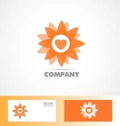 Abstract orange flower icon logo vector