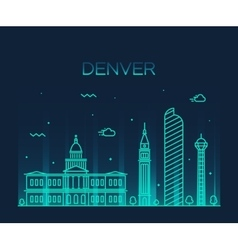 Denver skyline trendy linear vector