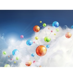 Futuristic background with molecules vector