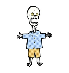 Comic cartoon skeleton vector