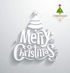 Merry christmas lettering white paper cut design vector