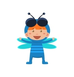 Child wearing costume of fly vector