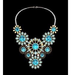 Womans necklace with precious stones vector