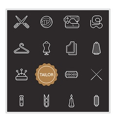 Set of tailor elements can be used as logo or icon vector