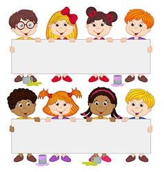 children holding blank paper vector image