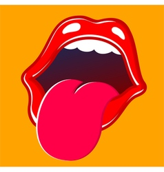 Mouth sticking tongue out vector