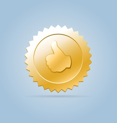 Golden like medal sign vector image