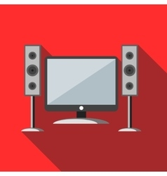 Home cinema with sound speakers icon vector image
