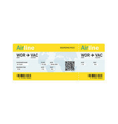 Air ticket by plane with text vector
