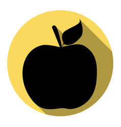 apple sign flat black icon vector image