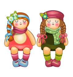 beautiful stuffed dolls girls with long braids vector image vector image