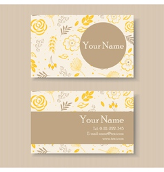 business card with yellow floral background vector image