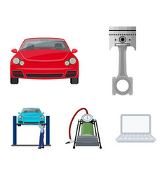 Car on lift piston and pump cartoon icons in set vector