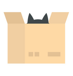 Cat in a cardboard box icon isolated vector