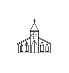 church line icon religion building elements vector image