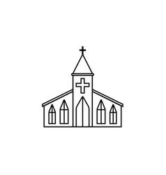 Church line icon religion building elements vector