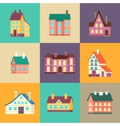Colorful residential house set in flat design vector image vector image