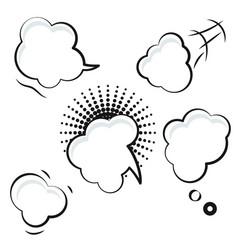 Comic speech bubble white icons vector