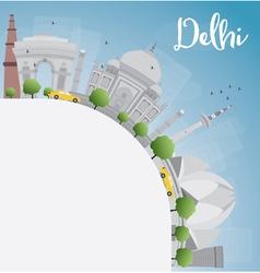 Delhi skyline with gray landmarks vector