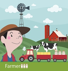 Farmers at work agriculture fresh farm vector