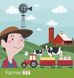 Farmers at work agriculture fresh farm vector image