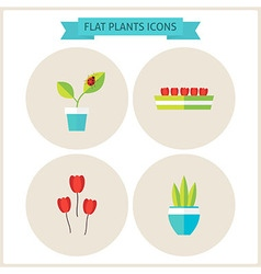 Flat plants website icons set vector