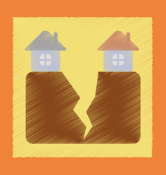 Flat shading style icon house earthquake vector