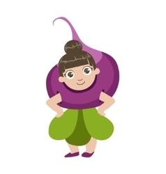 Girl dressed as beetroot vector