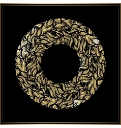 Gold round frame on black background vector image vector image