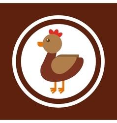 Hen animal farm icon vector