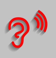 Human ear sign red icon with soft shadow vector