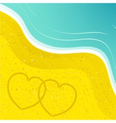 love hearts in the sand vector image vector image