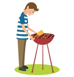 Man cooks barbecue vector image