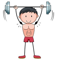 Man lifting weight alone vector