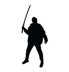 Man with sword posing silhouette vector